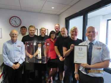 The Vulcan Safety Team are pictured with the trophy From Left to right -:  Ian Mycock, Andrew Hammonds, Aaron Jones, Nigel Wood, Laura Plant, David Dale, Lee Ratcliffe, Gemma Mace, Gary Dukes